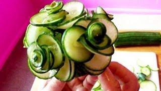 Art In Cucumber Show- Vegetable Carving Rose Tutorial