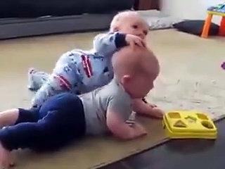 Cute Twin baby fighting - baby funny video 2015