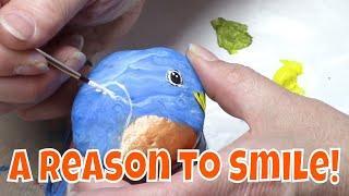 DIY Rock Painting Tutorial - Cute Bluebird for Hidden Rock Game