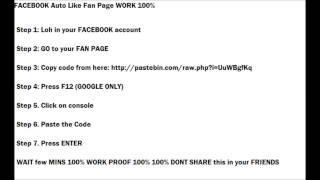 Facebook AUTO LIKE FAN PAGE 2014 WORK 100%
