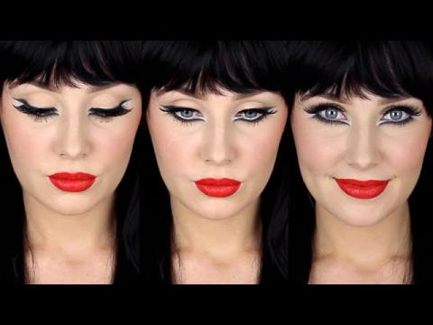 Graphic Doll Eyes + Red Lip + Black Wig! | Lauren Curtis