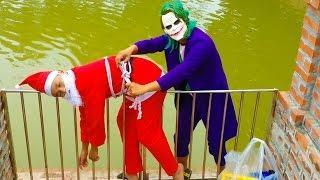 Joker Rob Gifts of Santa W/ Police baby recuse Santa/ Funny videos Super hero for kids