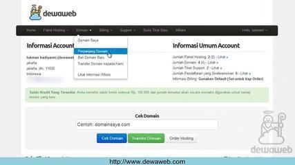 Dewaweb Client Area Tutorial Renew Domain via Client Area