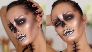 Easy & Glam GLOSSY SKULL Halloween Makeup Tutorial