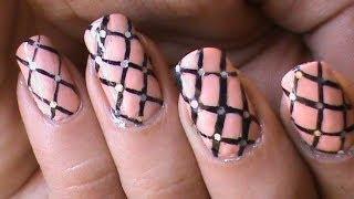 Fishnet Nails Tutorial -- Easy DIY Striping Nail Polish Designs Video Nude Pink Long Nails