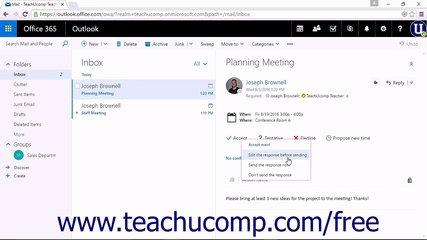 Outlook on the Web Tutorial Responding to Meeting Requests Microsoft Training