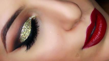 Gold Glitter Cut Crease Smokey Eye - New Years Eve Makeup Tutorial