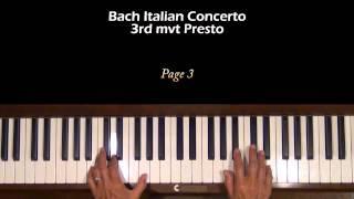 Bach Italian Concerto Presto Movement Piano Tutorial SLOW