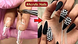 Silver Spikes Nail Art -Swarovski Stud Nails Design Tutorial - Acrylic Gel Nails Manicure.
