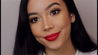 FALL MAKEUP TUTORIAL - Red Lip + FIRST IMPRESSIONS || Monique Lynn || GET READY WITH ME Fenty Beauty
