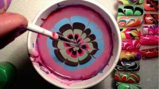לק במים Water Marble Nail Art