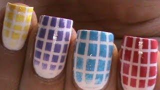 Checkered Gradient Nail Polish Designs- Cute Ombre Bright Nail Art Long/Short Nails Easy Tutorial