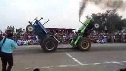 Hahahaha funny tractor race