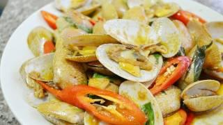 Thai Food Cooking Tutorial: Hoi Laai Pad Prik Phao (Stir Fried Clams With Thai Chili Paste)