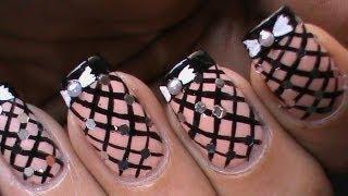 Fishnet Nails Tutorial -- Easy DIY Striping Nail Polish Designs Video On Bow Nude Pink Long Nails