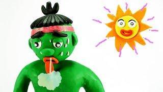 Play Doh Hulk Funny Videos w/ Frozen Elsa vs Hulk Baby Play-doh Pranks Cartoons Movies