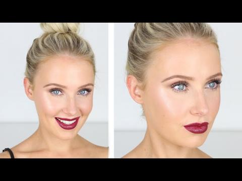 Glowy, Luminous Skin + Taupe Eyes + Plum Lips! | Lauren Curtis