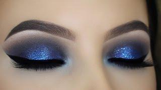 Blue Glitter Smokey Eye Tutorial