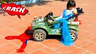Elsa Driving Toy Car Spiderman Accident & Police Arrest! Funny videos