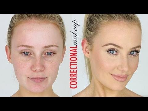 CORRECTIONAL MAKEUP! Redness, Large Pores, Small Eyes, Dark Circles etc | Lauren Curtis