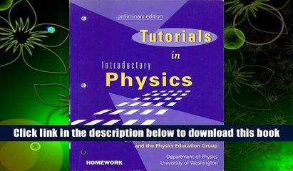 Best Ebook  Tutorials in Introductory Physics  For Kindle