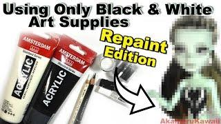 Repainting Using Only Black and White Art Supplies - Doll Repaint Tutorial