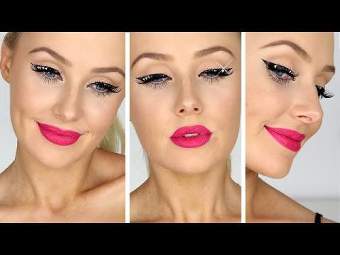 Rockstar Eyeliner w/ CRYSTAL STUDS! + Hot Pink Lips Tutorial | Lauren Curtis