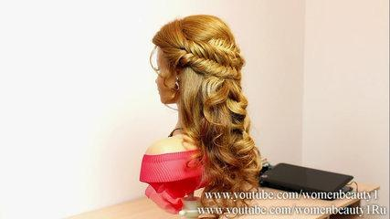 Bridal hairstyle for long hair with braids tutorial