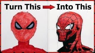 Teaching Steve How to Draw Spiderman - IMPROVES INSTANTLY! (Step by Step Tutorial)