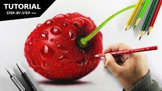 Draw CHERRY with Pencil colors | Tutorial for BEGINNERS