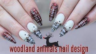 WOODLAND ANIMALS HOLIDAY NAILS | ENCAPSULATED GEL TUTORIAL