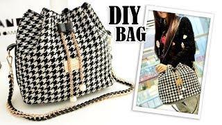 DIY SWEET SHOULDER BAG DESIGN // Chains Fashion Bucket Bag Tutorial