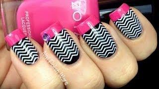 Chevron Nails Tutorial - Konad Stamping Easy Black White How To Latest Nail Polish Designs