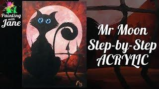 Mr. Moon the Cat - Step by Step Acrylic Painting Tutorial