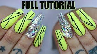 HAND PAINTED NAILS TIPS AND TRICKS FULL TUTORIAL SCULPTED ACRYLIC