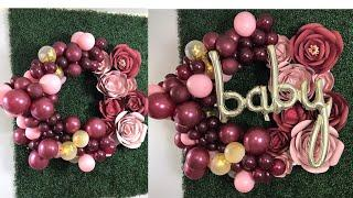 Balloon Hula Hoop Wreath Tutorial with Paper Flowers