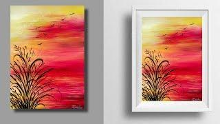 simple painting - sunset painting tutorial - landscape - step by step painting - easy painting - art