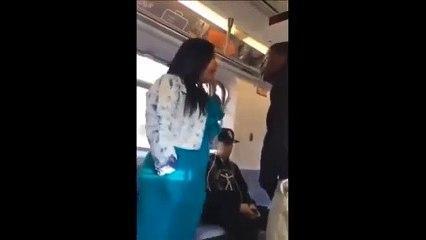 Cette femme remet en place une racaille dans le bus... Joli!