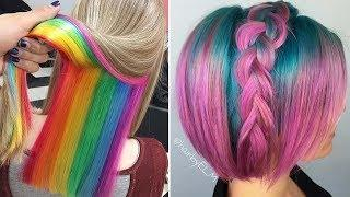 Amazing HAIRSTYLES TUTORIAL - Amazing Hair Color Transformations (Rainbow Hair Colous)
