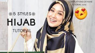 5 STYLES|| MOST SWEETS & SIMPLE|| HIJAB SQUARE TUTORIAL|| SYARIAH COMPLIANCE!|| ❤❤