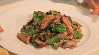 Nam Tok - Spicy Beef Salad W/ Mint - Hot Thai Kitchen! -เนื้อนำ้ตก