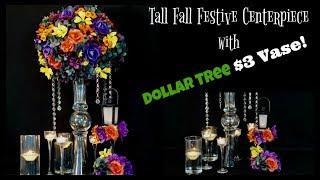 Tall Fall Centerpiece with $3 Vase   Dollar Tree $3 Vase!   DIY Tutorial