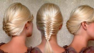 French Fishtail Braid And Everyday Updo Hairstyles Medium Long Hair Tutorial