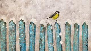 Bird on a Fence Winter Landscape Acrylic Painting LIVE Tutorial