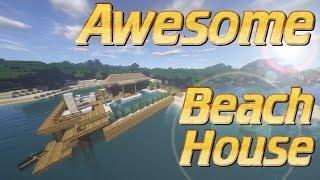 How to Make a House | Minecraft Beach House Tutorial | Lets Build Tutorial | Minecraft House