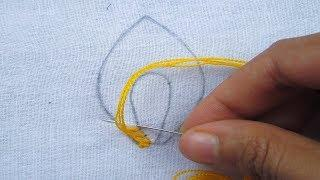 Hand Embroidery, Beautiful Leaves Embroidery Tutorial, Easy hand stitch