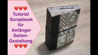 Scrapbook für Anfänger, Tutorial Scrapbook Album für Beginner, Kunstleder Seitengestaltung leicht