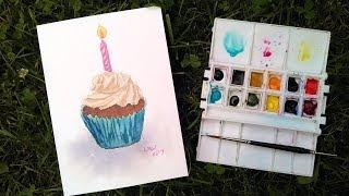 How To Paint a Birthday Cupcake! Easy REAL-TIME Watercolor tutorial