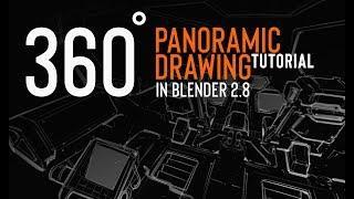 360 panoramic drawing in Blender 2.8 (tutorial teaser)