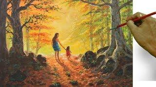 Mother and Child Walk in the Autumn Forest | Acrylic Landscape Painting Tutorial